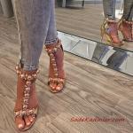 2019 Stiletto Ayakkabı Modelleri Gold Taş Aksesuarlı T Bantlı Arkadan Fermuarlı