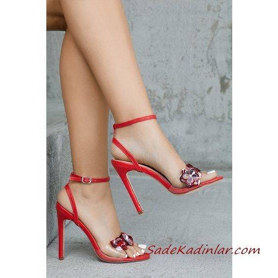 2019 Stiletto Ayakkabı Modelleri Kırmızı Şeffaf Bantlı Akseuarlı Yandan Tokalı