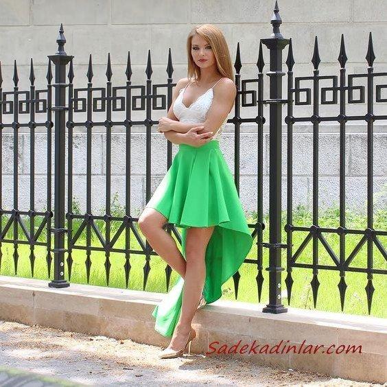 2021 Önü Kısa Arkası Uzun Abiye Yeşil ve Beyaz İp Askılı V Yakalı Kloş Etekli