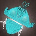 2019 Örgü Bikini Modelleri Yeşil Boyundan Askılı Yandan Bağcıklı