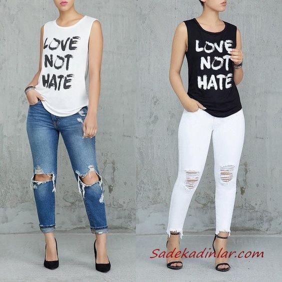 2021 Şık Bayan Kıyafet Kombinleri Beyaz Yırtık Skinny Pantolon Siyah Kolsuz Bluz Siyah Topuklu Ayakkabı