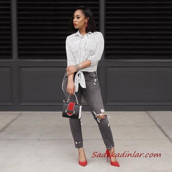 2021 Şık Bayan Kıyafet Kombinleri Gri Yırtık Kot Pantolon Beyaz Uzun Kol Çizgili Gömlek Kırmızı Stiletto Ayakkabı