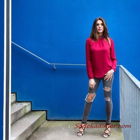 2021 Şık Bayan Kıyafet Kombinleri Gri Yırtık Skinny Pantolon Fuşya Uzun Kol Bluz Siyah Topuklu Ayakkabı