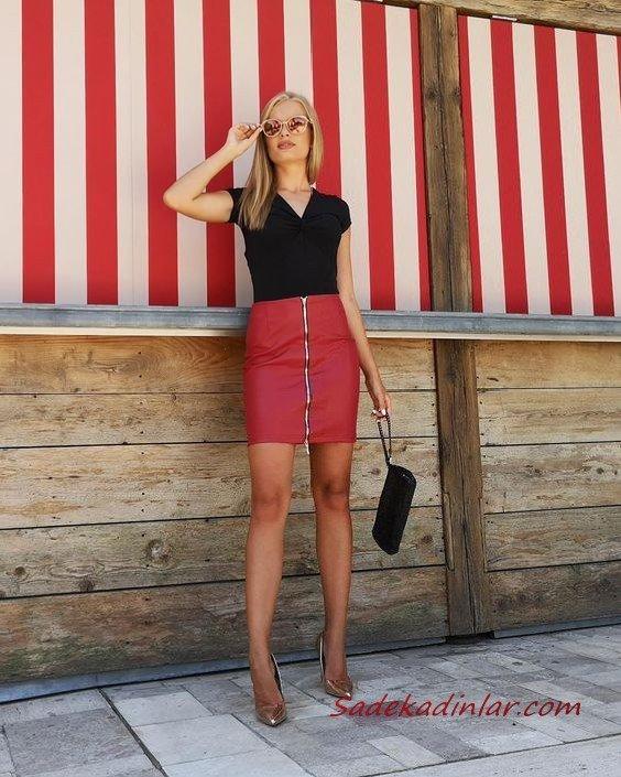 2019 Şık Kıyafet Kombinleri Kırmızı Kısa Deri Etek Siyah V Yakalı Kısa Kol Bluz Gold Topuklu Ayakkabı