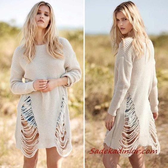 2021 Şık Bayan Kıyafet Kombinleri Mavi Kısa Kot Şort Krem Yırtık Uzun Kol Tunik Kazak