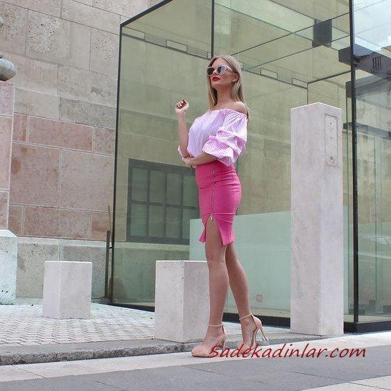 2021 Şık Bayan Kıyafet Kombinleri Pembe Kısa Fermuarlı Yırtmaçlı Etek Pembe Straplez Düşük Kol Bluz Kahverengi Topuklu Ayakkabı