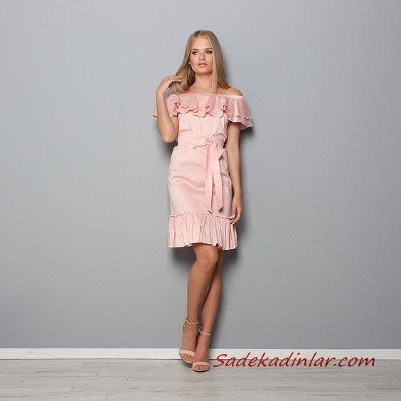 2021 Şık Bayan Kıyafet Kombinleri Pembe Kısa Straplez Düşük Kol Dntel Detaylı Kahverengi Topuklu Ayakkabı