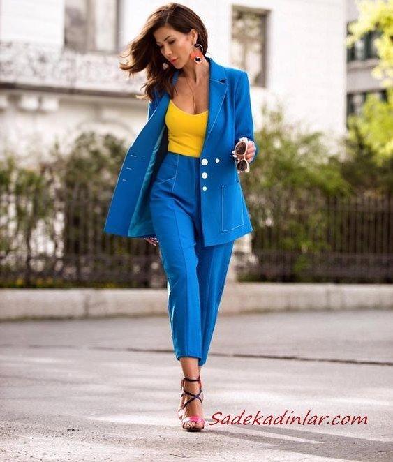 2019 Şık Kıyafet Kombinleri Saks Mavi Kumaş Pantolon Sarı V Yaka Bluz Saks Mavi Uzun Ceket Siyah Stiletto Ayakkabı