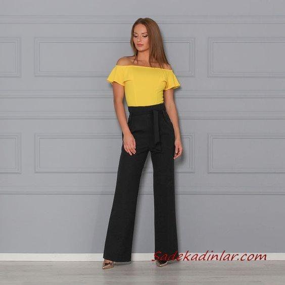 2021 Şık Bayan Kıyafet Kombinleri Siyah Bol Kumaş Pantolon Sarı Straplez Düşük Kısa Kol Bluz Gold Stiletto Ayakkabı