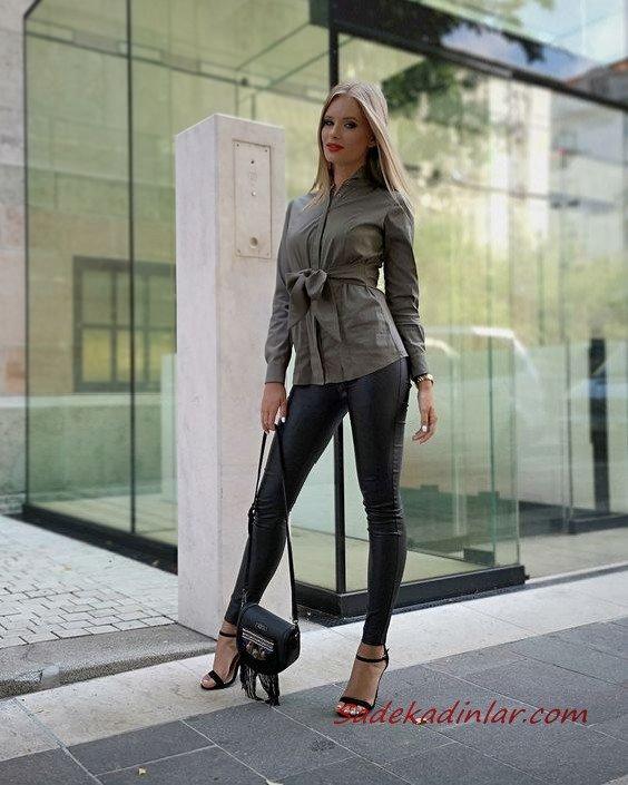 2021 Şık Bayan Kıyafet Kombinleri Siyah Deri Pantolon Gri Uzun Kol Gömlek Siyah Topuklu Ayakkabı