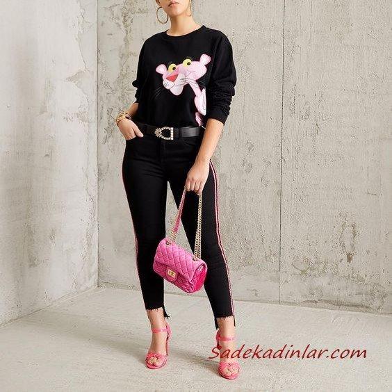 2021 Şık Bayan Kıyafet Kombinleri Siyah Kalem PAntolon Siyah Uzun Kol Baskılı Sweater Pembe Topuklu Ayakkabı