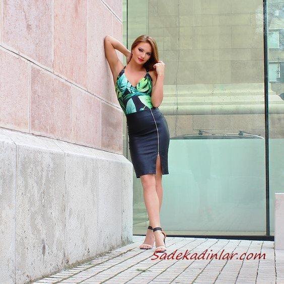 2021 Şık Bayan Kıyafet Kombinleri Siyah Kısa Deri Etek Yeşil Askılı Bluz Siyah Topuklu Ayakkabı