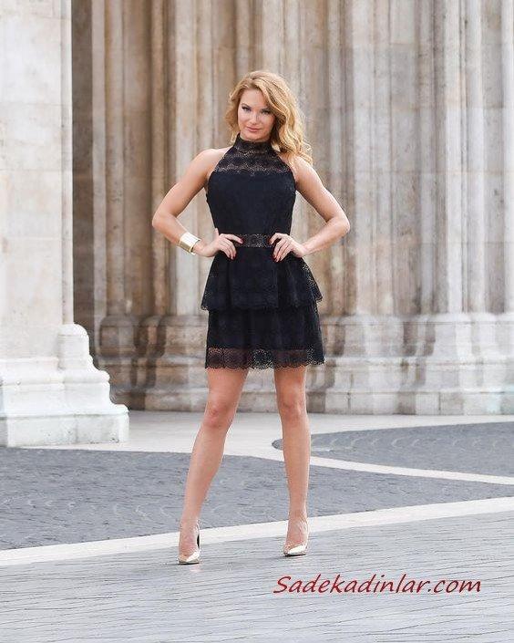 2021 Şık Bayan Kıyafet Kombinleri Siyah Kısa Halter Yaka Dantel Elbise Gold Topuklu Ayakkabı