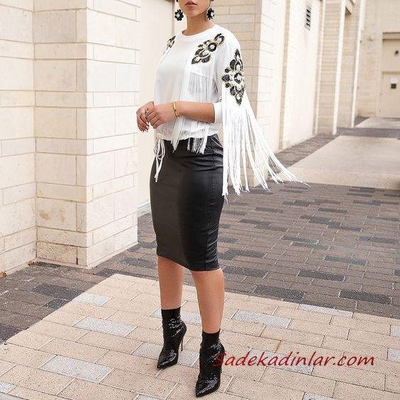 2021 Şık Bayan Kıyafet Kombinleri Siyah Midi Deri Kalem Etek Beyaz Uzun Kol İşlemeli Püsküllü Bluz Siyah Topuklu Bot