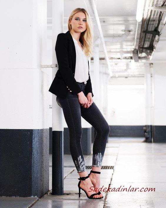 2021 Şık Bayan Kıyafet Kombinleri Siyah Skinny Kot Pantolon Beyaz Gömlek Siyah Ceket Siyah Stiletto Ayakkabı