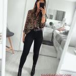 2021 Şık Bayan Kıyafet Kombinleri Siyah Skinny Pantolon Siyah Uzun Kol Salaş Desenli Gömlek Siyah Topuklu Bot