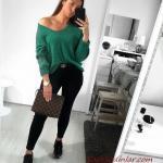 2021 Şık Bayan Kıyafet Kombinleri Siyah Skinny Pantolon Yeşil Uzun Kol V Yaka Bluz Siyah Spor Ayakkabı