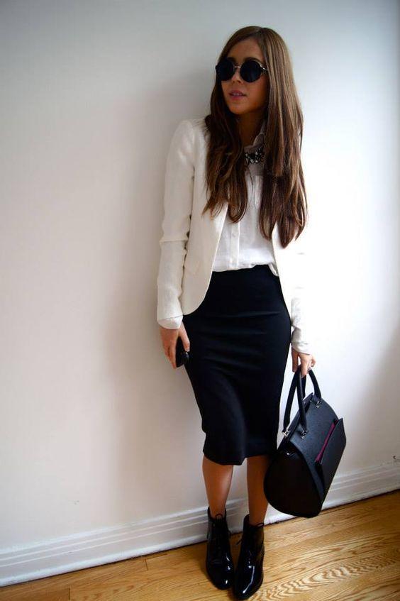 Blazer Ceket Siyah Etek Beyaz Gömlek Kombini