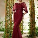 2020 Uzun Gece Elbiseleri ve Abiye Kıyafetler Bordo Uzun Balık Tül Pelerinli İşlemeli