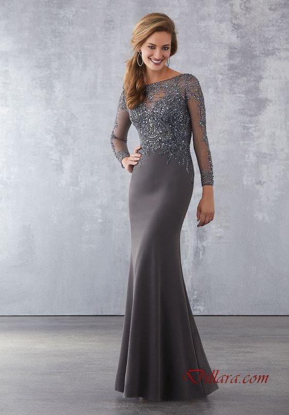2020 Uzun Gece Elbiseleri ve Abiye Kıyafetler Gri Uzun Kayık Yaka İşlemeli Uzun Kol