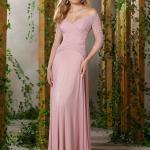 2020 Uzun Gece Elbiseleri ve Abiye Kıyafetler Pembe Uzun Geniş V Yaka Uzun Kol