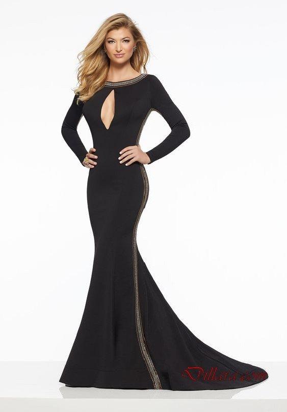 2020 Uzun Gece Elbiseleri ve Abiye Kıyafetler Siyah Uzun Balık Geniş İşlemeli Yaka Uzun Kol Kuyruklu