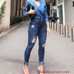 2020 Günlük Jean Kombinleri Lacivert Yüksel Bel Püsküllü Jean Mavi Uzun Kol V Yaka Kot Gömlek Beyaz Topuklu Ayakkabı