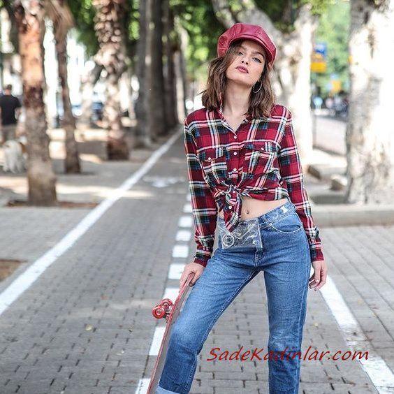 2020 Günlük Jean Kombinleri Mavi Mom Jeans Kırmızı Ekose Desenli Uzun Kol Gömlek