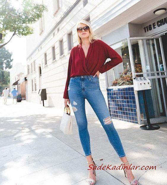 2020 Günlük Jean Kombinleri Mavi Yırtık Jean Bordo Uzun Kol V Yaka Gömlek Gri Stiletto Ayakkabı