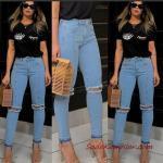 2020 Günlük Jean Kombinleri Mavi Yırtık Jean Siyah Kısa Kol Tişört Vizon Stiletto Ayakkabı