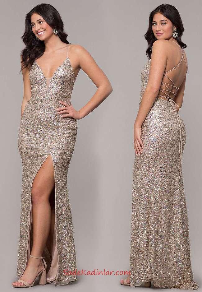 2019 Payetli Uzun Abiye Vizon Uzun Askılı V Yakalı Sırt Dekolteli Yırtmaçlı Payetli Elbise