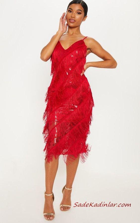 2020 Püsküllü Elbise Modelleri Kırmızı Midi İp Askılı V Yakalı Püsküllü