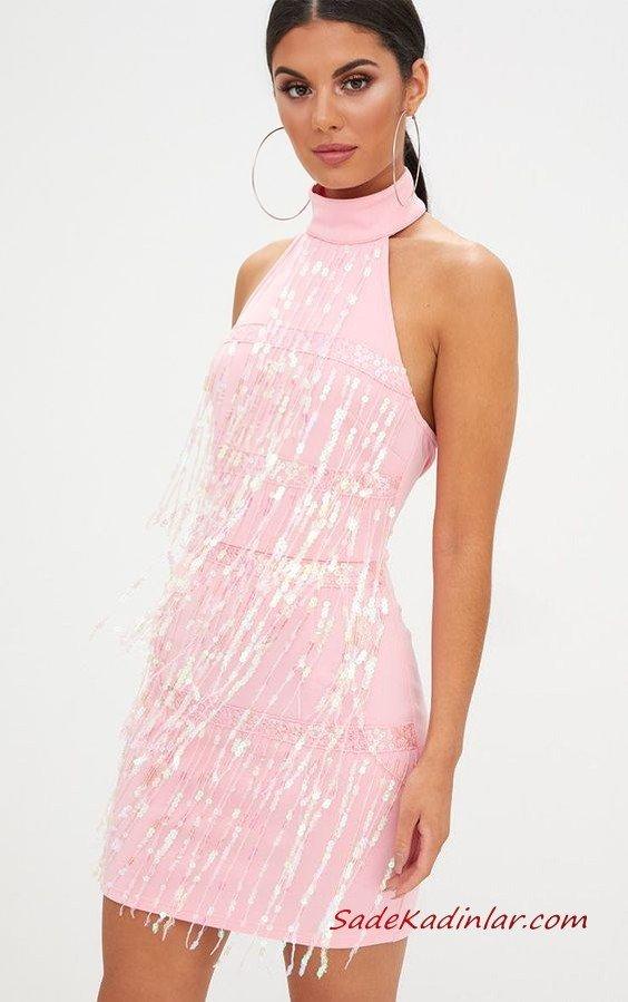 2020 Püsküllü Elbise Modelleri Pembe Kısa Halter Yaka Pullu Püsküllü