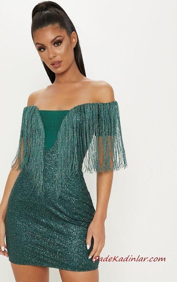 2020 Püsküllü Elbise Modelleri Yeşil Kısa Straplez Düşük Kol Simli Kumaş Püsküllü