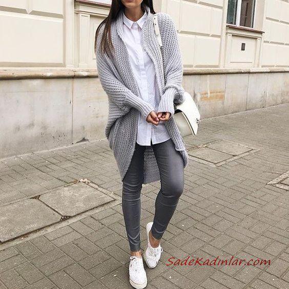 2019 Sokak Modası Gri Skinny Pantolon Beyaz Gömlek Gri Uzun Hırka Beyaz Spor Ayakkabı