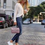 2021 Spor Kombinler Lacivert Yüksel Bel Pantolon Beyaz Puantiyeli Salaş Gömlek Beyaz Spor Ayakkabı