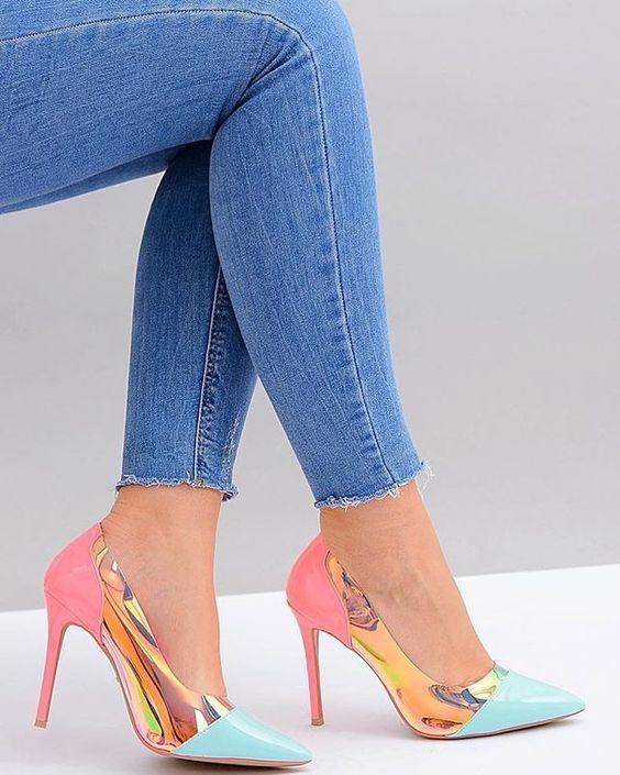 2019 Stiletto Ayakkabı Modelleri Gold Önü Kapalı Renk Bloklu