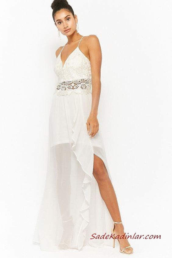 2019 Uzun Gece Elbiseleri Beyaz Uzun İp Askılı V Yakalı Dantel Detaylı Şifon Etekli