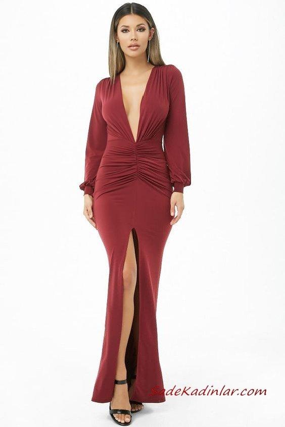 2019 Uzun Gece Elbiseleri Bordo Uzun Derin V Yakalı Uzun Kol Önden Yırtmaçlı