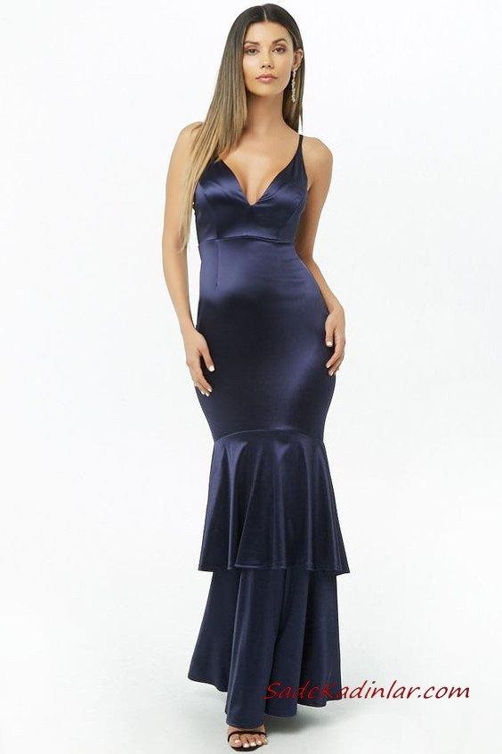 2019 Uzun Gece Elbiseleri Lacivert Uzun Saten Askılı B Yakalı Fırfırlı Etekli