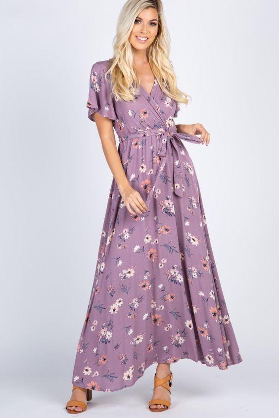 6b942f69a43fa 2019 Yazlık Elbise Modelleri Lila Uzun Kısa Kol Kruvaze Yaka Kloş Etekli  Çiçek Desenli Kahverengi Topuklu