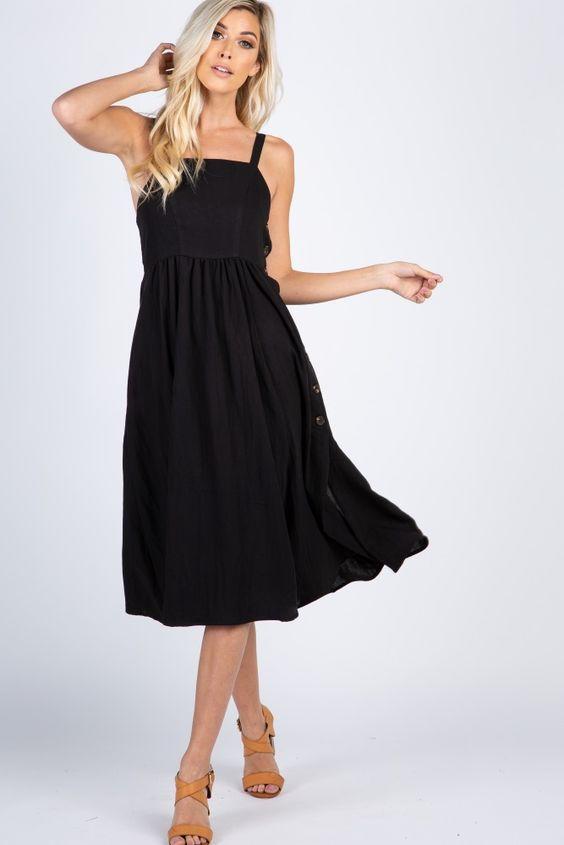 2042fa4883033 2019 Yazlık Elbise Modelleri Siyah Midi Askılı Düz Yaka Yandan Düğme  Aksesuarlı Kloş Etekli Kahverengi Topuklu · «