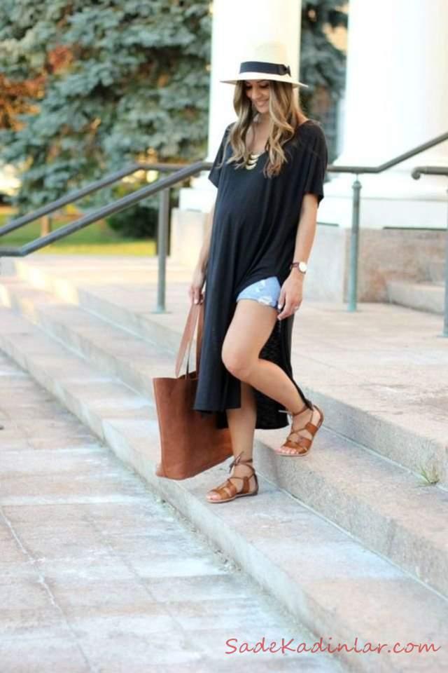 Hamile Kombinleri İçin Kıyafet Önerileri Kısa Kot Şort Siyah Uzun Penye