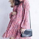 Hamile Kombinleri İçin Kıyafet Önerileri Kısa Çiçek Desenli Şifon Elbise