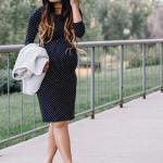 Hamile Kombinleri İçin Kıyafet Önerileri Puantiyeli Yetim Kol Midi Elbise