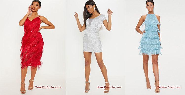 Püsküllü Elbiseler Işıltılı Şık Abiye Modelleri