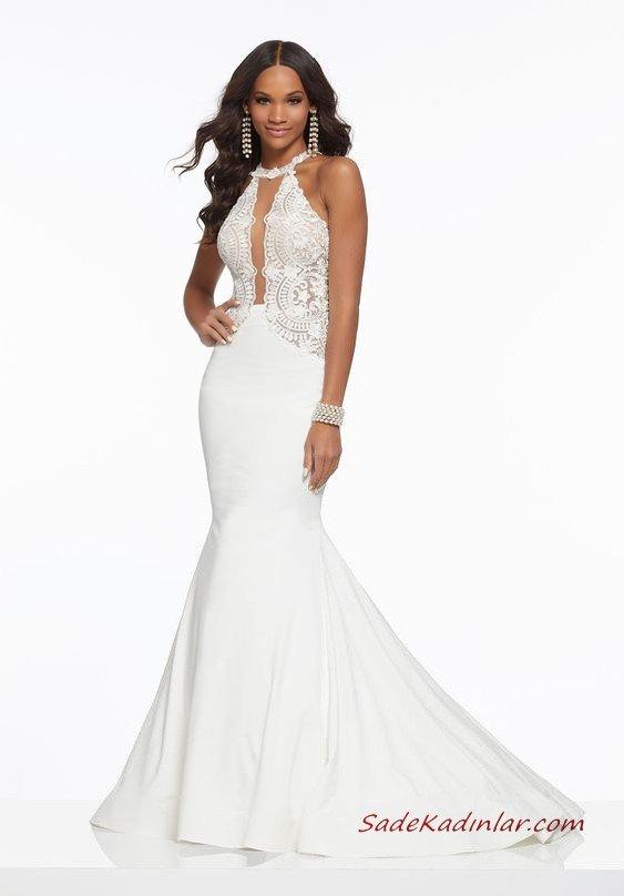 2019 Abiye Elbise Modelleri Beyaz Uzun Balık Boyundan Askılı Kolsuz Dantel İşlemeli