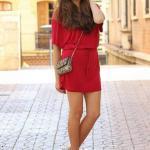 2020 Dolgu Topuk Ayakkabı Modelleri Kırmızı Kısa Kapalı Yaka Kısa Kol Elbise Topuklu Ayakkabı