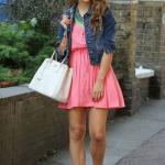 Bayan Kot Ceket Kombinleri Pembe Kısa Elbise Lacivert Kot Ceket Vizon Sandalet Ayakkabı