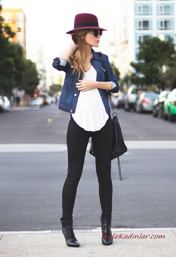 2019 Kot Ceket Kombinleri Siyah Skinny Kot Pantolon Beyaz Bluz Lacivert Kot Ceket Siyah Deri Topuklu Bot